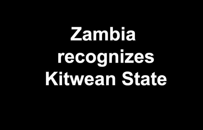 Zambia recognizes Kitwean state